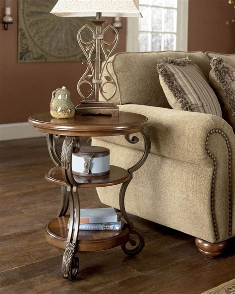 chair and end table new traditional round end coffee table wood metal living