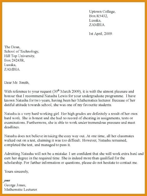 letter of recommendation for scholarship scholarship recommendation letter college letter 14836