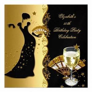 Elegant Lady 50th Birthday Party Gold Black Wine Invite ...