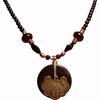 Pendant Onyx Medallion Necklace Bead Asian