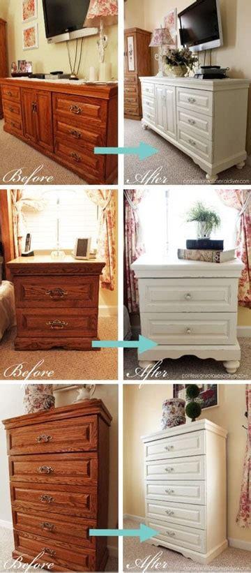 antiguos muebles restaurados en blanco antes  despues