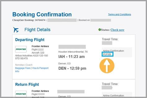 confirmation code frontier airlines
