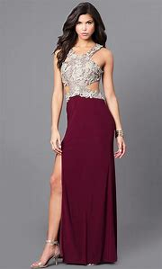 Wine and Gold Prom Dress