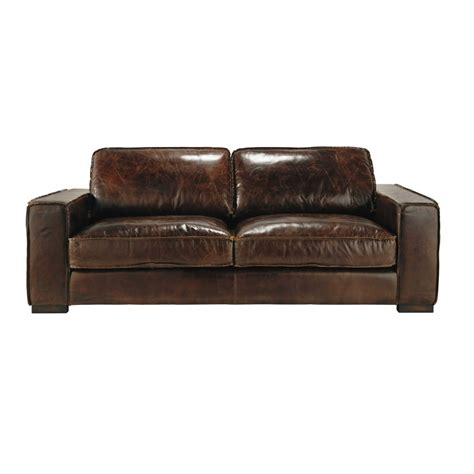 canape vintage marron 3 seater leather vintage sofa in brown colonel maisons