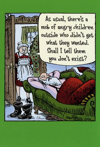 santa mob  angry children funny bizarro christmas card