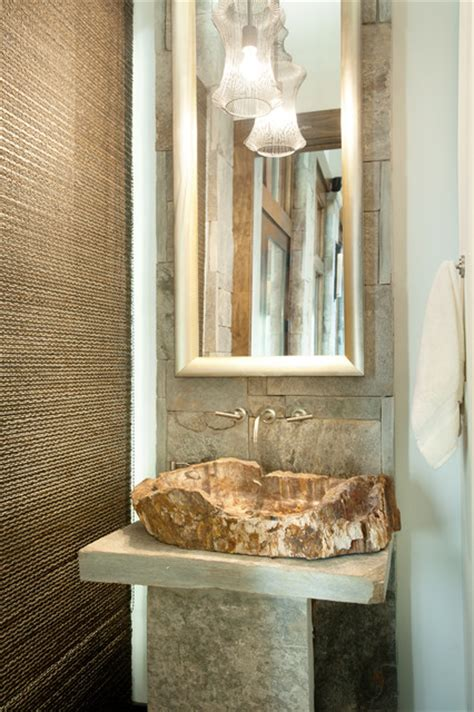 modern mountain home rustic powder room charlotte