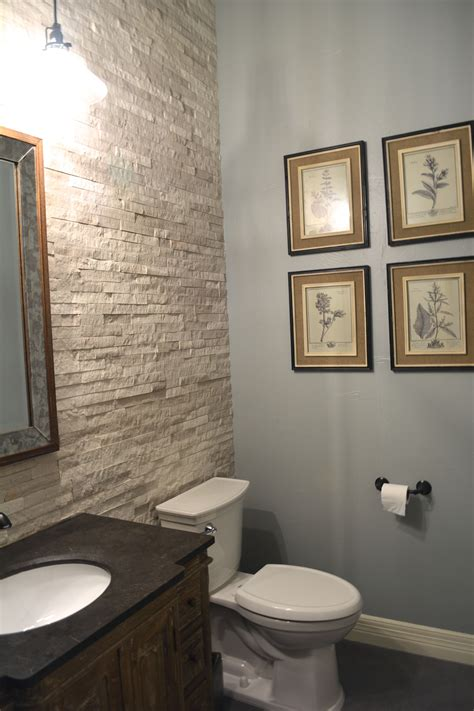 powder room  added  charcoal gray tile