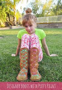 Tween Designed UGG Style Boots with Puffy Paint