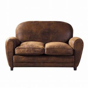 2 seater imitation suede sofa in brown arizona maisons With canape cuir vintage maison du monde