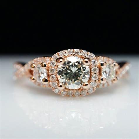 stone diamond halo rose gold engagement ring