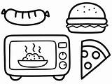 Coloring Children Microwave Junkfood Cooking Fun Pages sketch template
