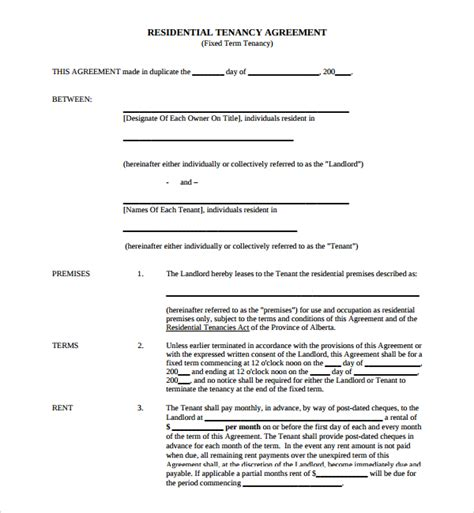 Letting Agreement Template Free by Sle Tenancy Agreement Template 9 Free Documents In