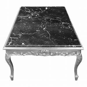 Table Marbre Noir : grande table basse de style baroque bois argent et marbre noir ~ Teatrodelosmanantiales.com Idées de Décoration