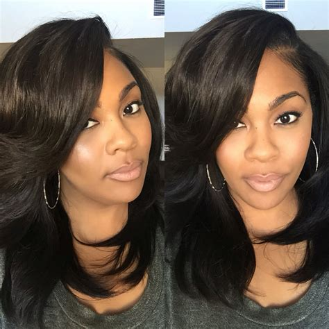 Layered Sew In Weave Hairstyles by Layered Sew In With Heavy Bangs Hair Styled By Plushh