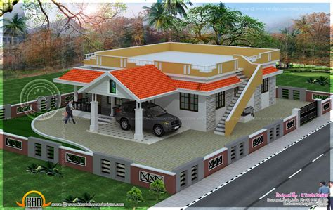 2 floor houses single floor 2 bedroom house elevation kerala home