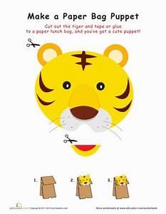Tiger paper bag puppet worksheet educationcom for Tiger puppet template