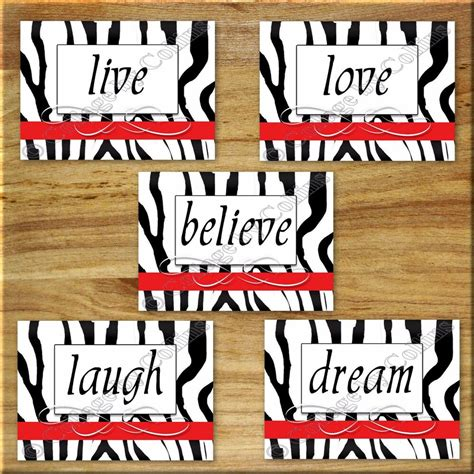 Usually ships within 6 to 10 days. RED ZEBRA Print Wall Word Art Decor Bathroom Girl Bedroom live love laugh Quotes | eBay