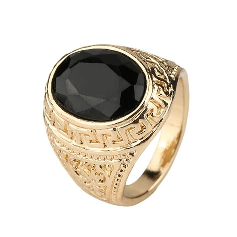 mens rings black precious stones real  gold ring