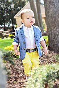 Picture Of yellow pants a white shirt a blue jacket