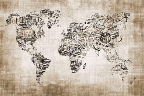 fond blanc cuisine tableau numérique mappemonde du voyageur sepia une toile