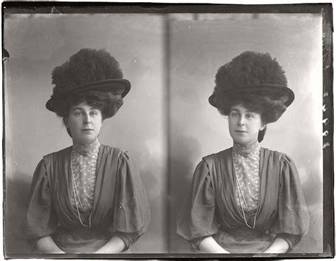 vintage glass plate diptych portraits  women girls