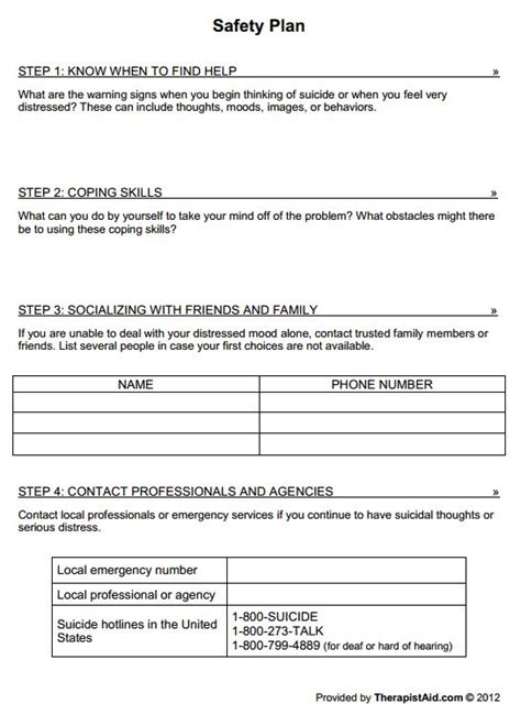 therapy safety plan template safety plan worksheet adolescence suicidal ideations
