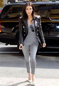 Kim Kardashian Grey Outfit