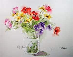 jar flower arrangement watercolor prints by roseann watercolor paintings