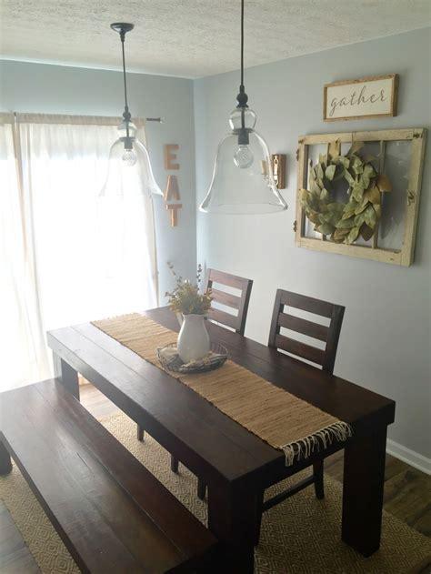 dining room decor farm house table pottery barn pendants