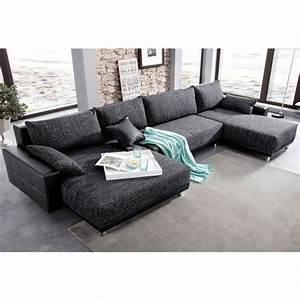Canape panoramique xl convertible en imitation cuir for Canapé de luxe en tissu