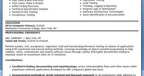 qa software tester resume sle entry level creative resume design templates word