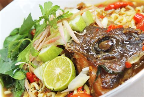 fish head asam laksa grouper noodle soup recipe spicy sour malaysian dentistvschef food