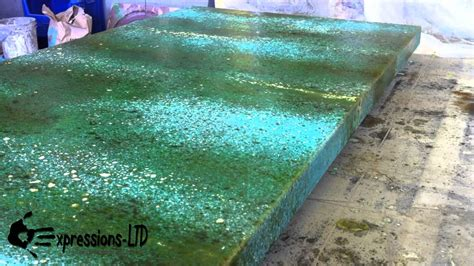 Kitchen Bar Counter Ideas - acid stain concrete countertop turquoise and rust youtube