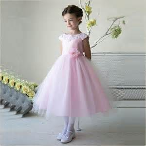 satin sashes thalia flower girl dress in pink wth lace collar demigella