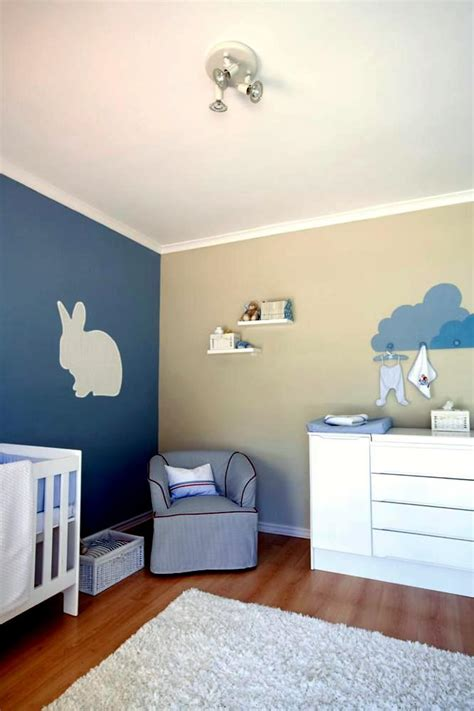 shower curtain green blue and beige wall with a rabbit model in modern baby