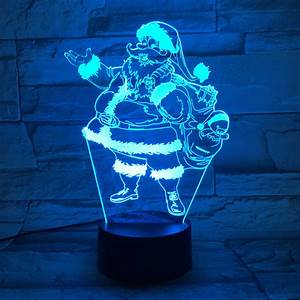New Christmas Santa Claus Usb 3d Led Lights Colorful Touch