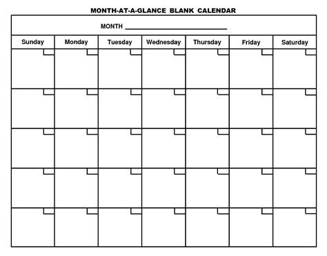 printable calendar large boxes ten printable