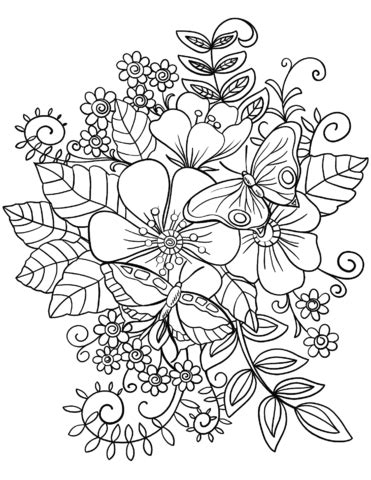 butterflies  flowers coloring page  printable