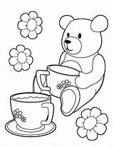 Coloring Tea Teddy Printable Picnic Colouring Bears Bear Template Birthday Teaparty Parties Coloring2print sketch template
