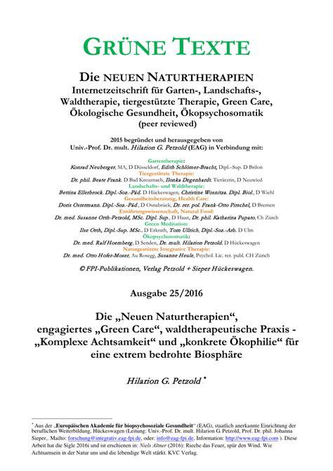 Gärten Der Achtsamkeit pdf die quot neuen naturtherapien quot engagiertes quot green