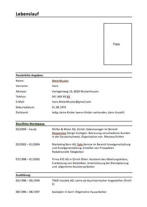 Lebenslauf Vorlage Schweiz by Lebenslauf Schweiz Kostenlose Vorlage Muster Vorlage Ch
