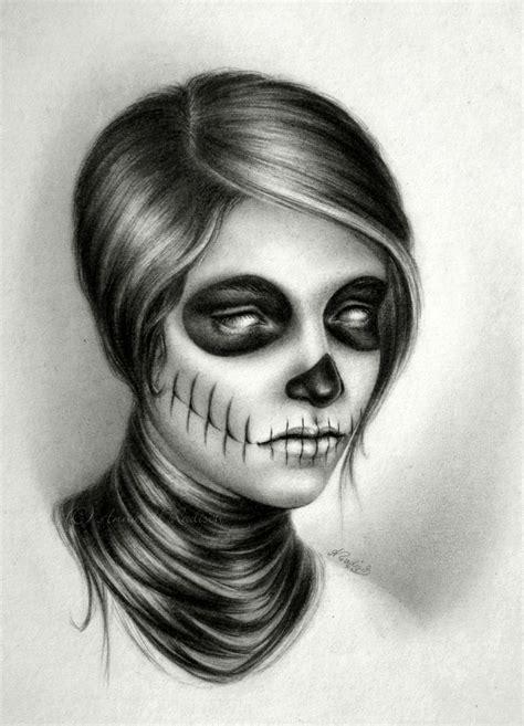 Catrina Sugar Skull Realistic Pencil Drawing