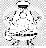 Postal Worker Mail Angry Cartoon Coloring Clipart Chubby Outlined Vector Cory Thoman sketch template