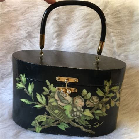 handmade decoupage black wood handbag poshmark