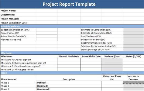description  project status report template project
