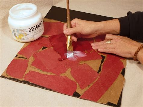 acrylic painting on recycled brown paper bags create