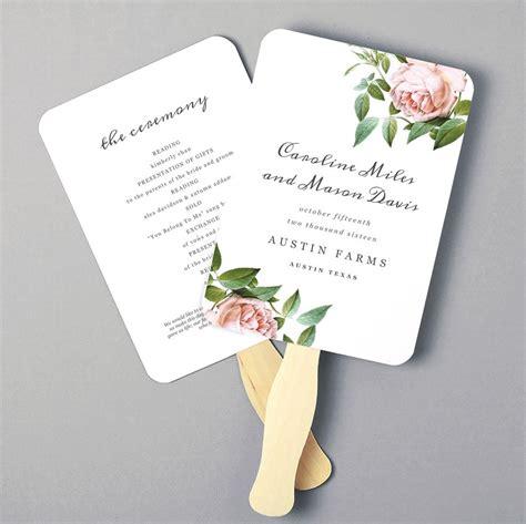 free wedding program fan printable fan program fan program template wedding fan template vintage botanical diy in