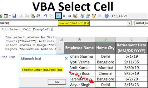 vba select cell   select cells  excel  vba code
