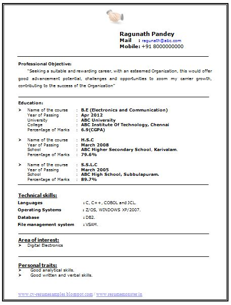Ece Resume Format by Sle Resume For Ece Engineering Students Gallery Creawizard
