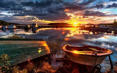 Spectacular Ocean Sunset Boats Reflection Wallpapers13